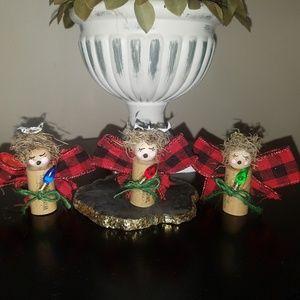 Wine cork angels, set of 3 caroling buffalo checks